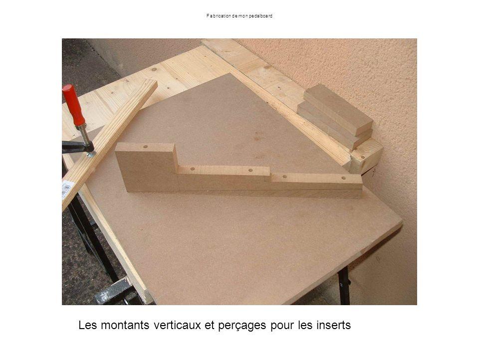 Fabrication de mon pedalboard Les montants verticaux et perçages pour les inserts