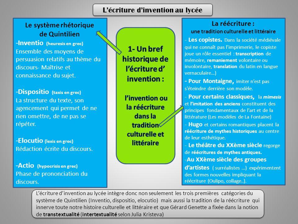 Le système rhétorique de Quintilien -Inventio (heuresis en grec) Ensemble des moyens de persuasion relatifs au thème du discours- Maîtrise et connaissance du sujet.