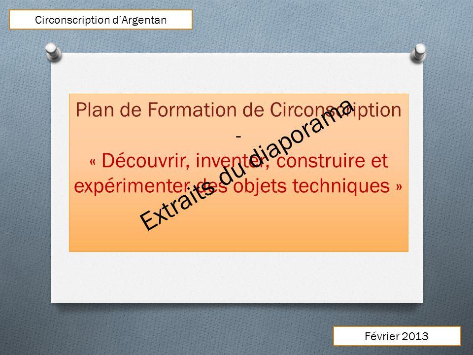 Plan de Formation de Circonscription - « Découvrir, inventer, construire et expérimenter des objets techniques » Circonscription dArgentan Février 201