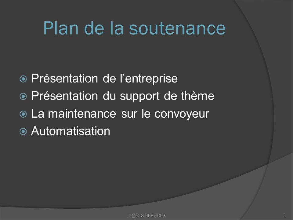 Plan de la soutenance Présentation de lentreprise Présentation du support de thème La maintenance sur le convoyeur Automatisation DI@LOG SERVICES2