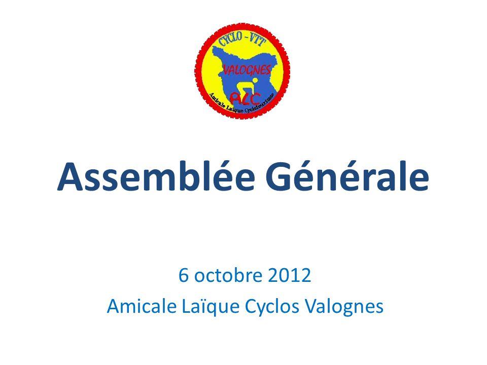 Assemblée Générale 6 octobre 2012 Amicale Laïque Cyclos Valognes