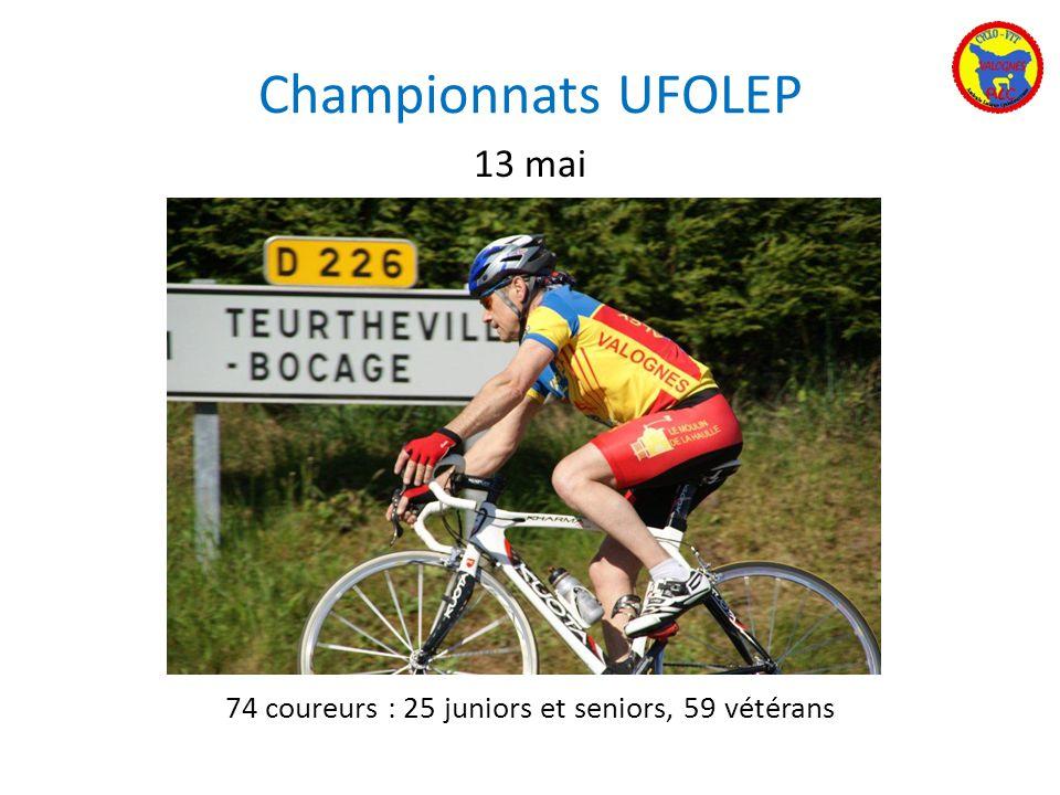 Championnats UFOLEP 74 coureurs : 25 juniors et seniors, 59 vétérans 13 mai