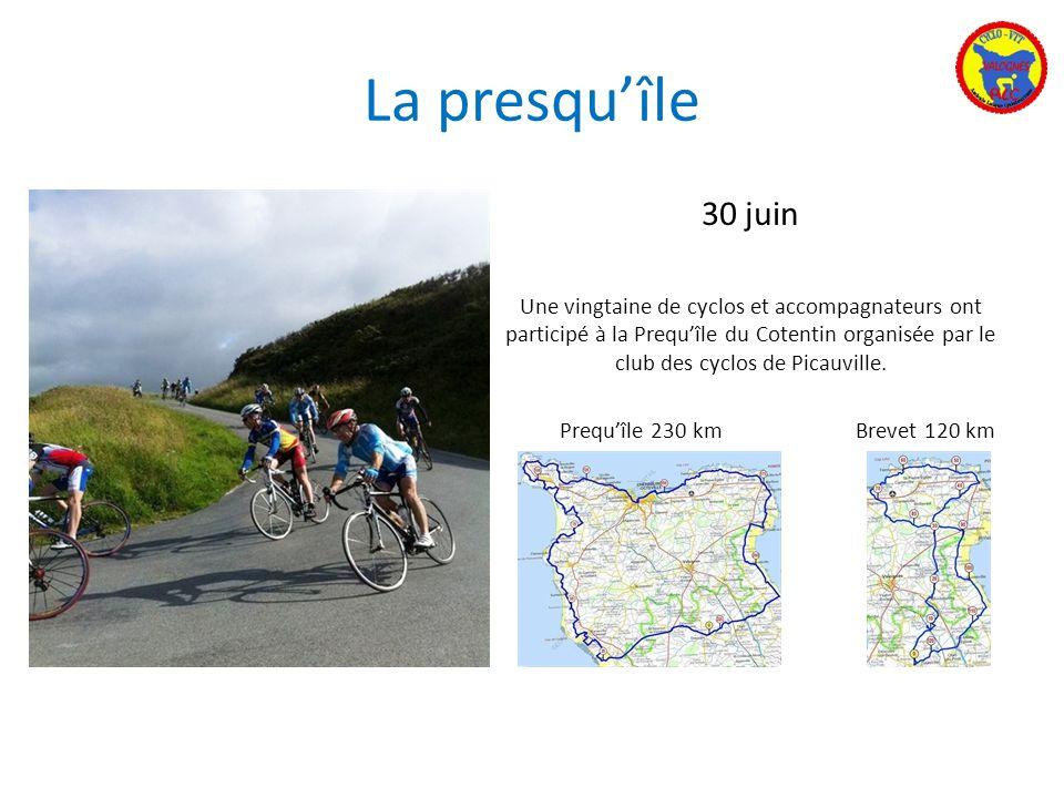 La presquîle 30 juin Une vingtaine de cyclos et accompagnateurs ont participé à la Prequîle du Cotentin organisée par le club des cyclos de Picauville