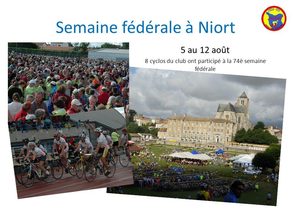 Semaine fédérale à Niort 5 au 12 août 8 cyclos du club ont participé à la 74è semaine fédérale