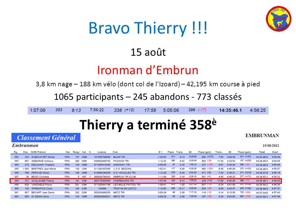 Bravo Thierry !!! 15 août Ironman dEmbrun 3,8 km nage – 188 km vélo (dont col de lIzoard) – 42,195 km course à pied 1065 participants – 245 abandons -