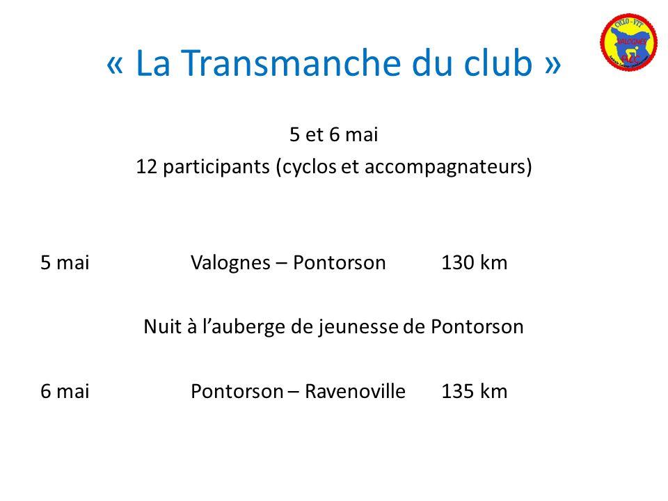 « La Transmanche du club » 5 et 6 mai 12 participants (cyclos et accompagnateurs) 5 maiValognes – Pontorson130 km Nuit à lauberge de jeunesse de Ponto