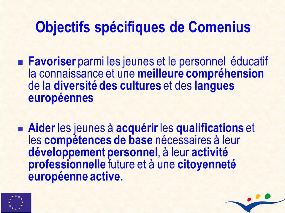 Objectifs spécifiques de Comenius Favoriser parmi les jeunes et le personnel éducatif la connaissance et une meilleure compréhension de la diversité d