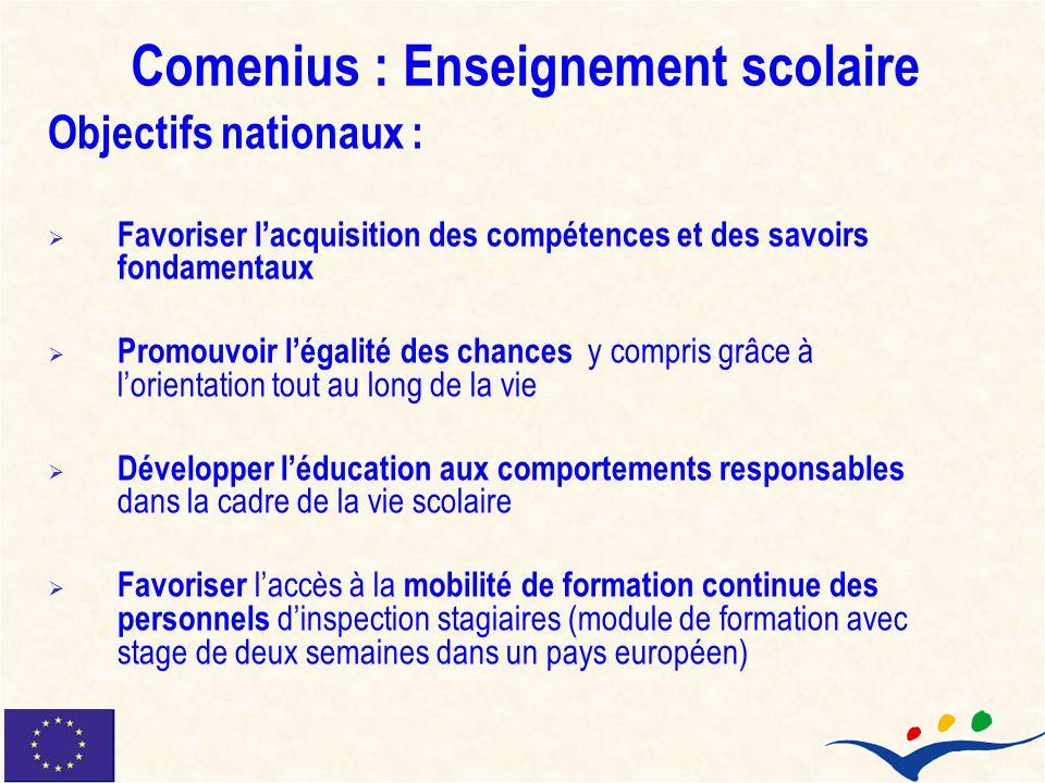 Comenius : Enseignement scolaire Objectifs nationaux : Favoriser lacquisition des compétences et des savoirs fondamentaux Promouvoir légalité des chan