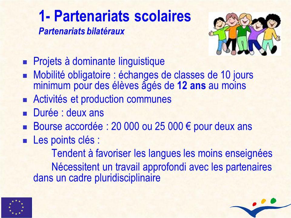 1- Partenariats scolaires Partenariats bilatéraux Projets à dominante linguistique Mobilité obligatoire : échanges de classes de 10 jours minimum pour