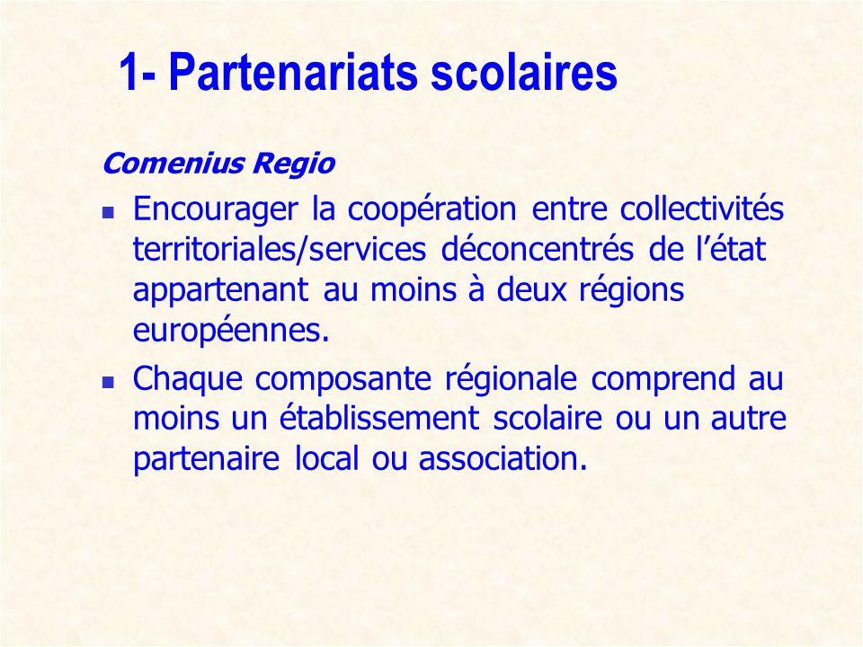 1- Partenariats scolaires Comenius Regio Encourager la coopération entre collectivités territoriales/services déconcentrés de létat appartenant au moi
