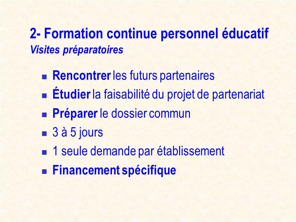 2- Formation continue personnel éducatif Visites préparatoires Rencontrer les futurs partenaires Étudier la faisabilité du projet de partenariat Prépa