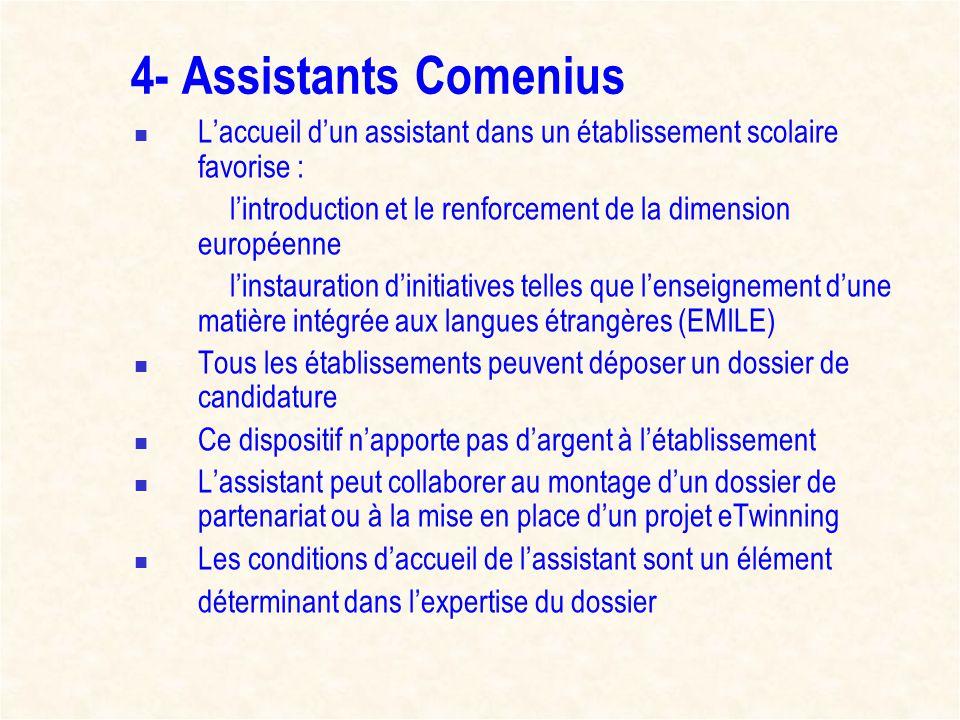 4- Assistants Comenius Laccueil dun assistant dans un établissement scolaire favorise : lintroduction et le renforcement de la dimension européenne li