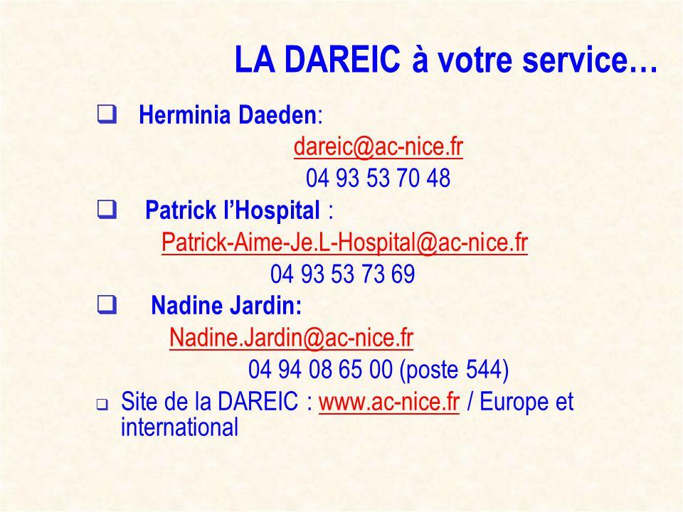 LA DAREIC à votre service… Herminia Daeden : dareic@ac-nice.fr 04 93 53 70 48 Patrick lHospital : Patrick-Aime-Je.L-Hospital@ac-nice.fr 04 93 53 73 69