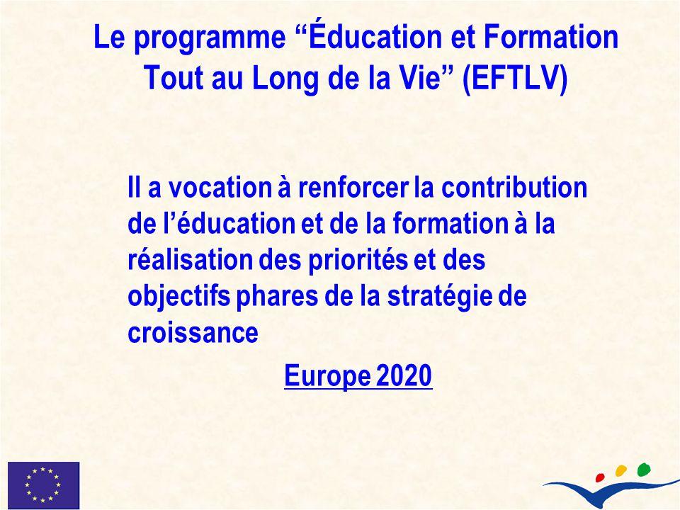 Le programme Éducation et Formation Tout au Long de la Vie (EFTLV) Il a vocation à renforcer la contribution de léducation et de la formation à la réa