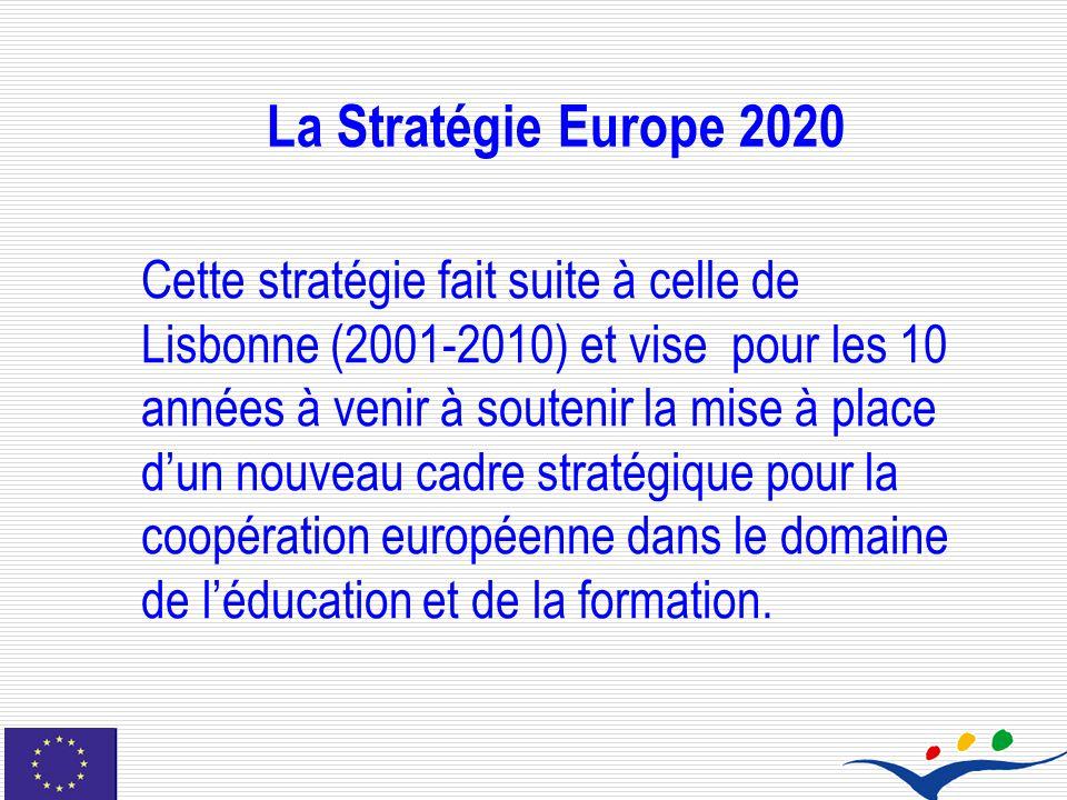 La Stratégie Europe 2020 Cette stratégie fait suite à celle de Lisbonne (2001-2010) et vise pour les 10 années à venir à soutenir la mise à place dun