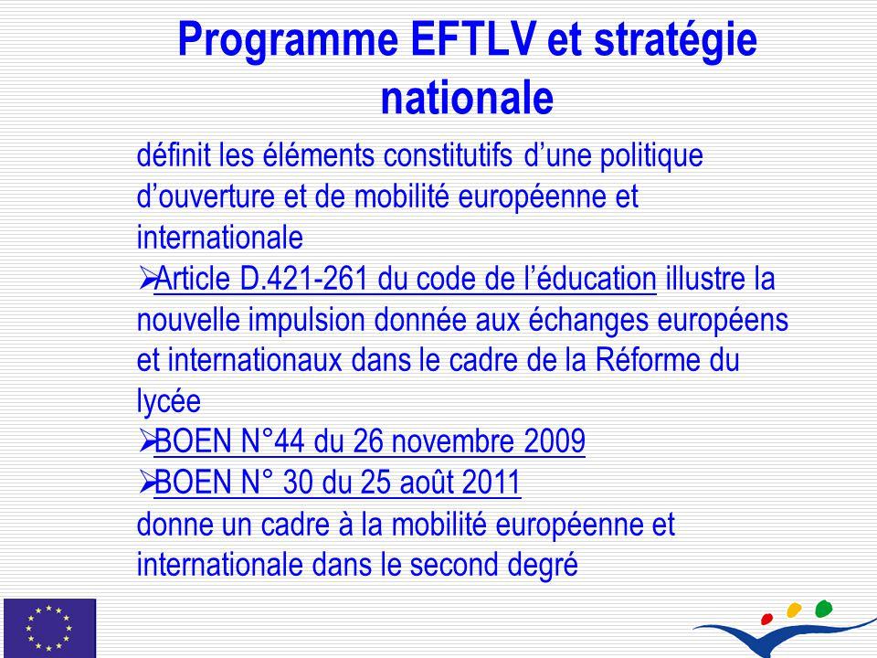 Programme EFTLV et stratégie nationale définit les éléments constitutifs dune politique douverture et de mobilité européenne et internationale Article