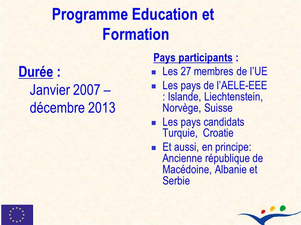 Programme Education et Formation Durée : Janvier 2007 – décembre 2013 Pays participants : Les 27 membres de lUE Les pays de lAELE-EEE : Islande, Liech