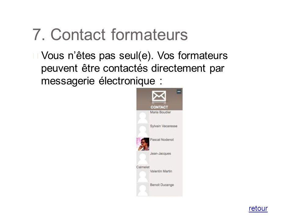 7. Contact formateurs Vous nêtes pas seul(e).
