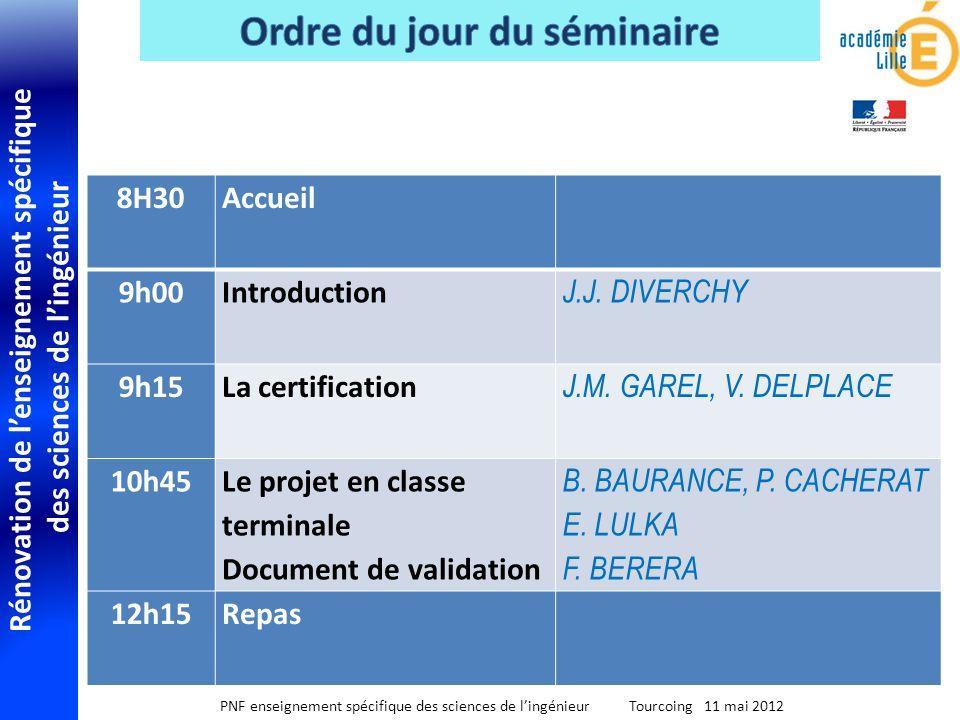 Rénovation de lenseignement spécifique des sciences de lingénieur PNF enseignement spécifique des sciences de lingénieur Tourcoing 11 mai 2012 8H30 Ac