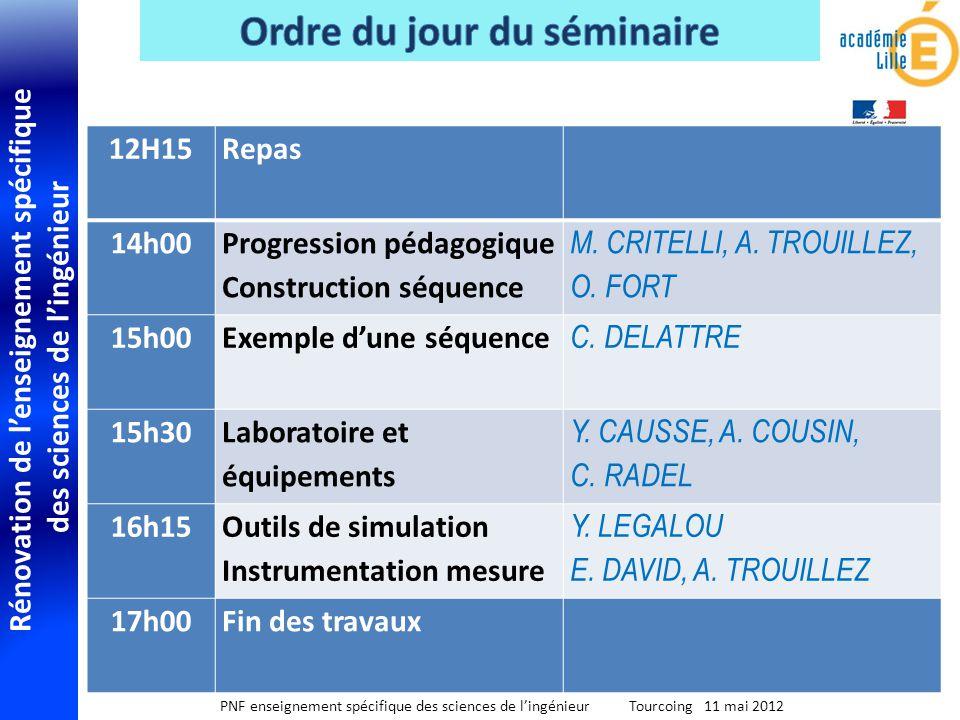 Rénovation de lenseignement spécifique des sciences de lingénieur PNF enseignement spécifique des sciences de lingénieur Tourcoing 11 mai 2012 12H15 R