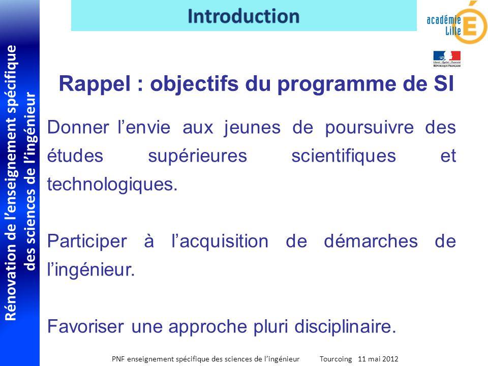 Rénovation de lenseignement spécifique des sciences de lingénieur PNF enseignement spécifique des sciences de lingénieur Tourcoing 11 mai 2012 Distinguer S-SI de STI2D, le premier étant plus conceptuel.