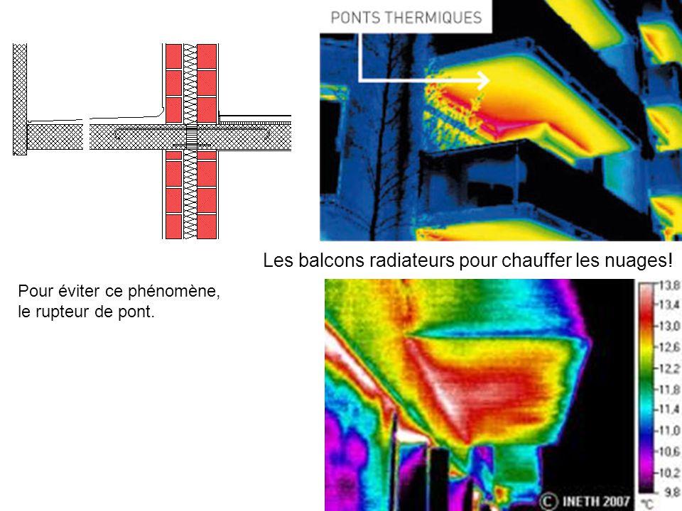 Les balcons radiateurs pour chauffer les nuages! Pour éviter ce phénomène, le rupteur de pont.