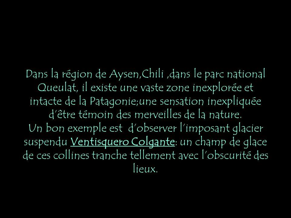 Dans la région de Aysen,Chili,dans le parc national Queulat, il existe une vaste zone inexplorée et intacte de la Patagonie;une sensation inexpliquée dêtre témoin des merveilles de la nature.