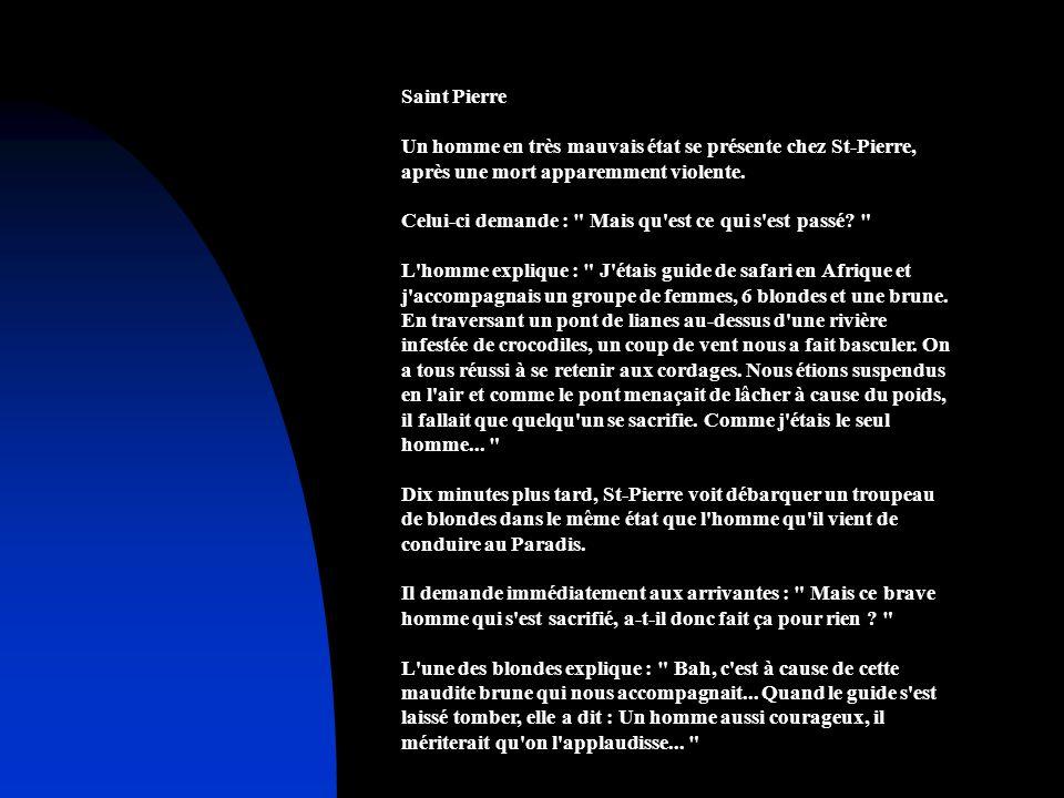 Saint Pierre Un homme en très mauvais état se présente chez St-Pierre, après une mort apparemment violente. Celui-ci demande :
