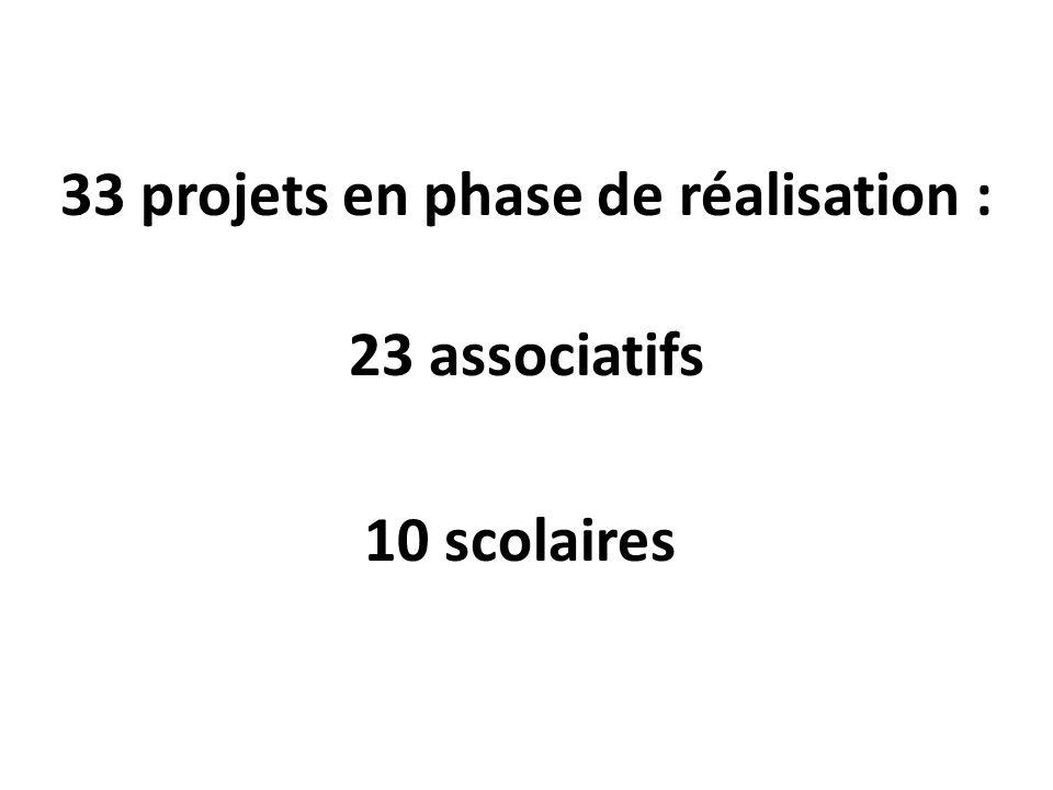 33 projets en phase de réalisation : 23 associatifs 10 scolaires