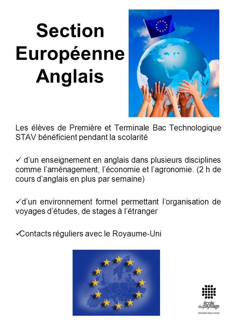 Section Européenne Anglais Les élèves de Première et Terminale Bac Technologique STAV bénéficient pendant la scolarité dun enseignement en anglais dan