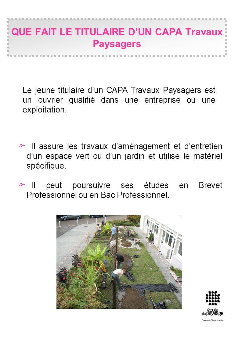 Il assure les travaux daménagement et dentretien dun espace vert ou dun jardin et utilise le matériel spécifique. Il peut poursuivre ses études en Bre