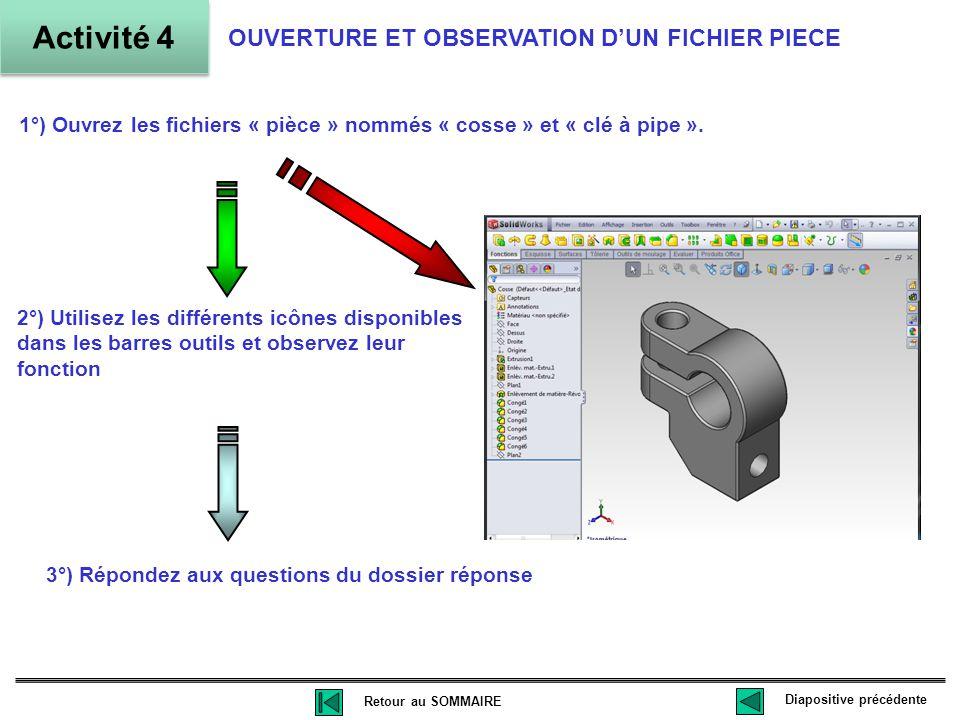 1°) Ouvrez les fichiers « pièce » nommés « cosse » et « clé à pipe ».