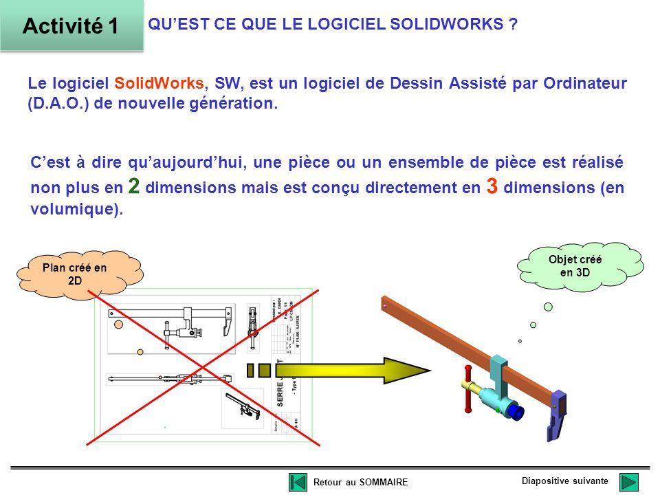Le logiciel SolidWorks, SW, est un logiciel de Dessin Assisté par Ordinateur (D.A.O.) de nouvelle génération.