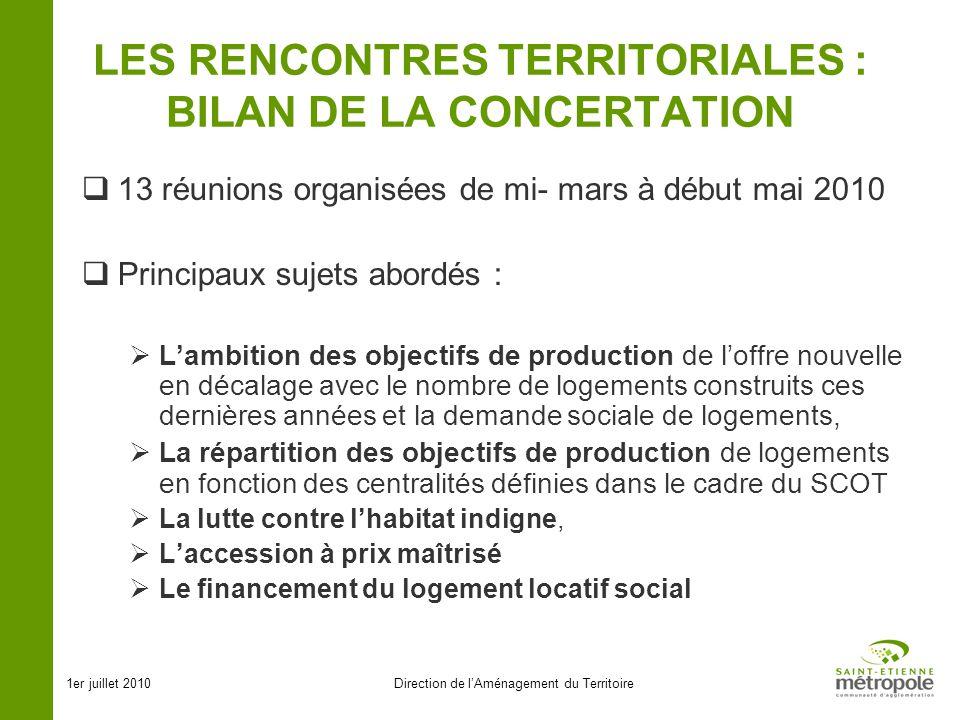 1er juillet 2010Direction de lAménagement du Territoire LES RENCONTRES TERRITORIALES : BILAN DE LA CONCERTATION 13 réunions organisées de mi- mars à d