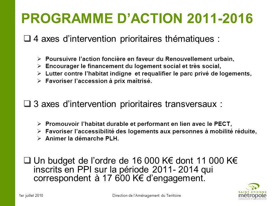 1er juillet 2010Direction de lAménagement du Territoire PROGRAMME DACTION 2011-2016 4 axes dintervention prioritaires thématiques : Poursuivre laction