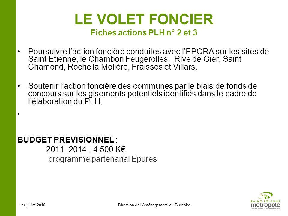1er juillet 2010Direction de lAménagement du Territoire LE VOLET FONCIER Fiches actions PLH n° 2 et 3 Poursuivre laction foncière conduites avec lEPOR