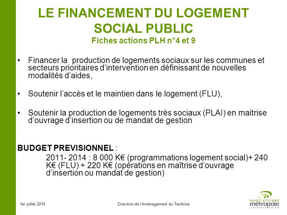 1er juillet 2010Direction de lAménagement du Territoire LE FINANCEMENT DU LOGEMENT SOCIAL PUBLIC Fiches actions PLH n°4 et 9 Financer la production de