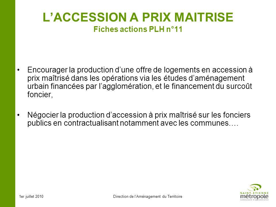1er juillet 2010Direction de lAménagement du Territoire LACCESSION A PRIX MAITRISE Fiches actions PLH n°11 Encourager la production dune offre de loge