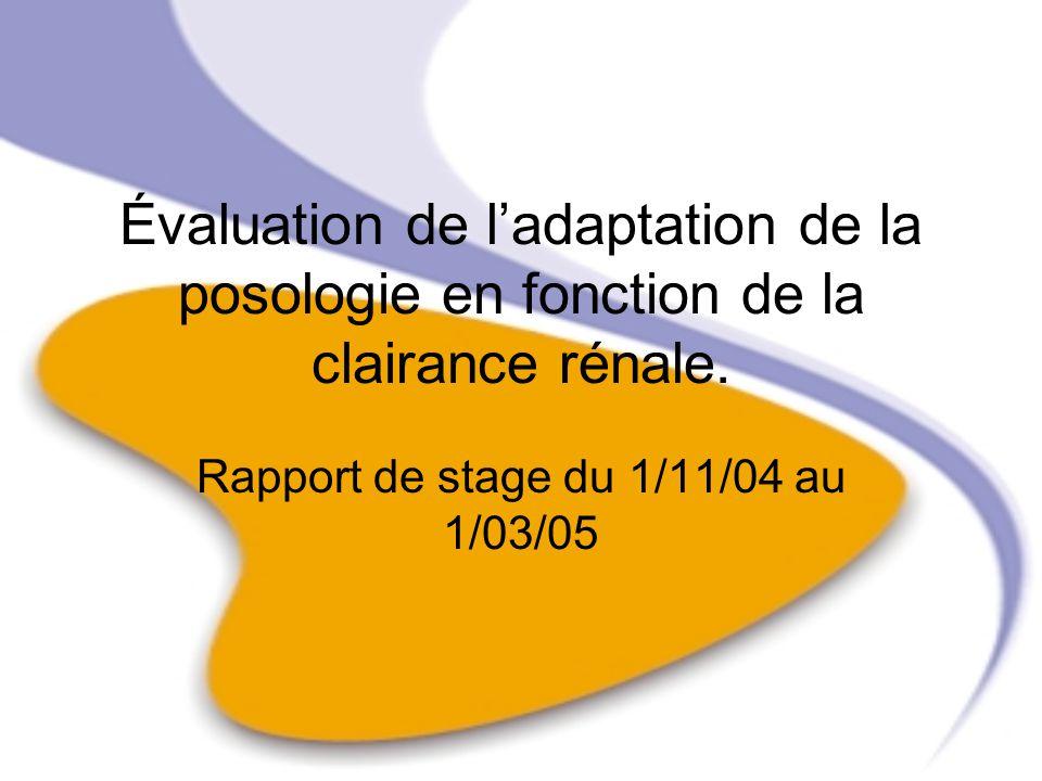 Évaluation de ladaptation de la posologie en fonction de la clairance rénale. Rapport de stage du 1/11/04 au 1/03/05