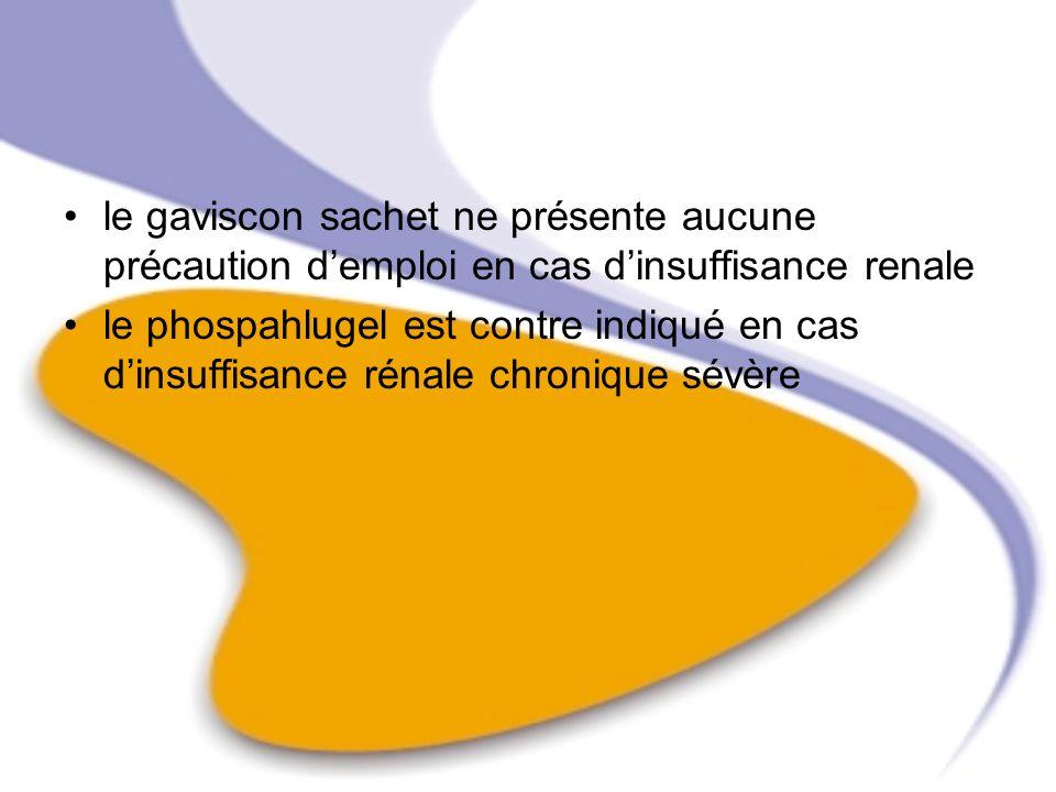le gaviscon sachet ne présente aucune précaution demploi en cas dinsuffisance renale le phospahlugel est contre indiqué en cas dinsuffisance rénale ch