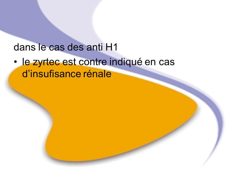 dans le cas des anti H1 le zyrtec est contre indiqué en cas dinsufisance rénale