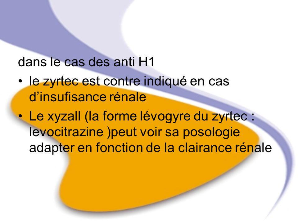 dans le cas des anti H1 le zyrtec est contre indiqué en cas dinsufisance rénale Le xyzall (la forme lévogyre du zyrtec : levocitrazine )peut voir sa p