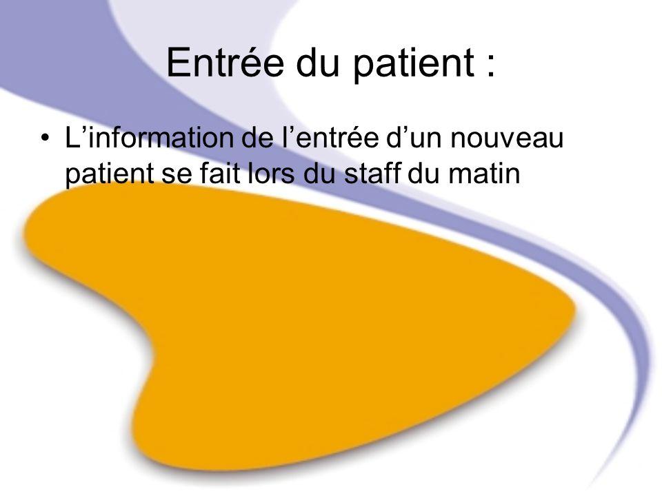 Entrée du patient : Linformation de lentrée dun nouveau patient se fait lors du staff du matin