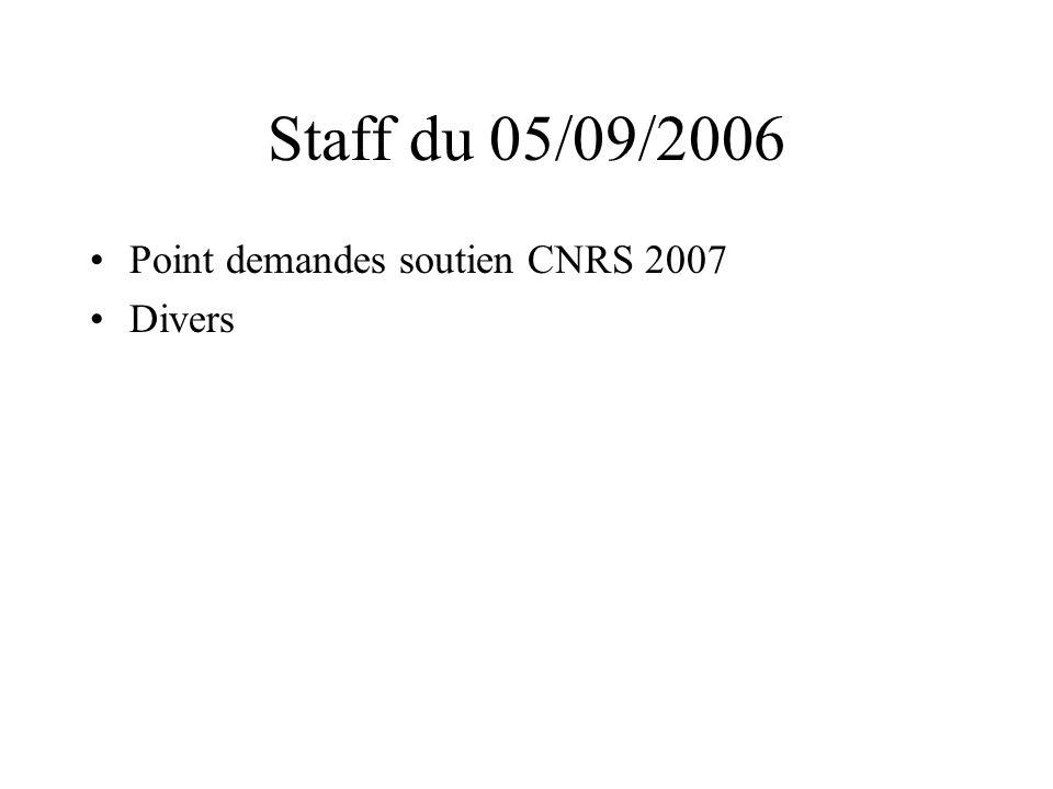 Staff du 05/09/2006 Point demandes soutien CNRS 2007 Divers