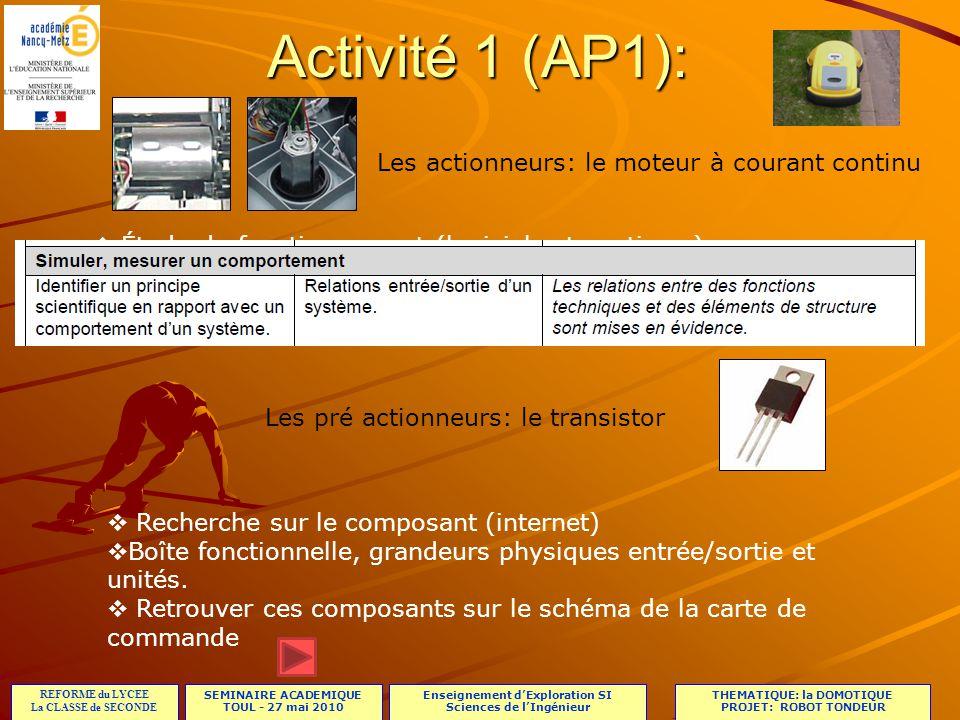 SEMINAIRE ACADEMIQUE TOUL - 27 mai 2010 REFORME du LYCEE La CLASSE de SECONDE Enseignement dExploration SI Sciences de lIngénieur THEMATIQUE: la DOMOTIQUE PROJET: ROBOT TONDEUR Activité 1 (AP1): Comment se fait le changement de sens de rotation dun moteur de la chaîne de propulsion.