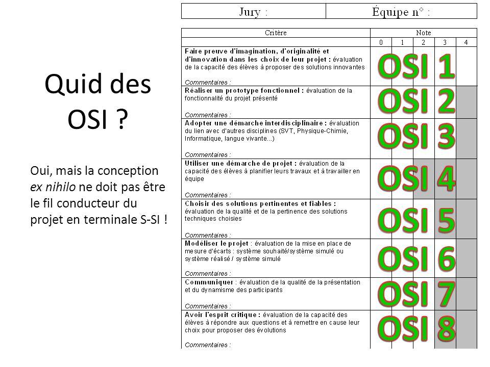 Quid des OSI ? Oui, mais la conception ex nihilo ne doit pas être le fil conducteur du projet en terminale S-SI !
