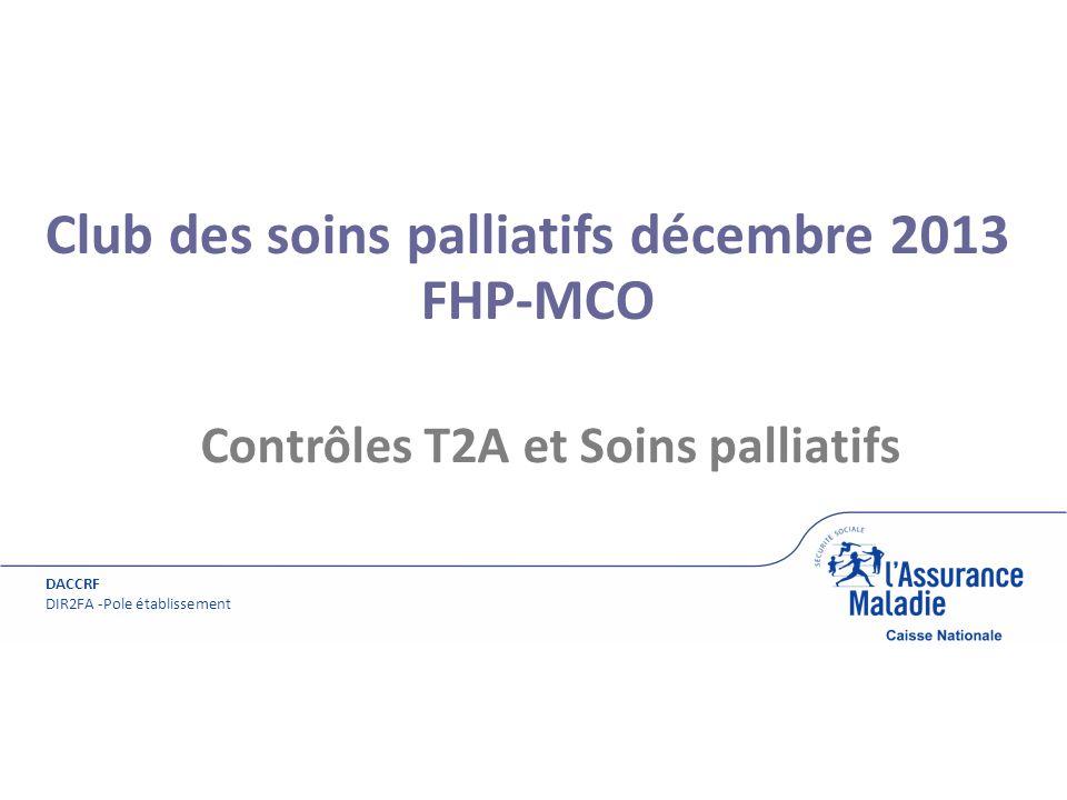 Couverture DACCRF DIR2FA -Pole établissement Club des soins palliatifs décembre 2013 FHP-MCO Contrôles T2A et Soins palliatifs