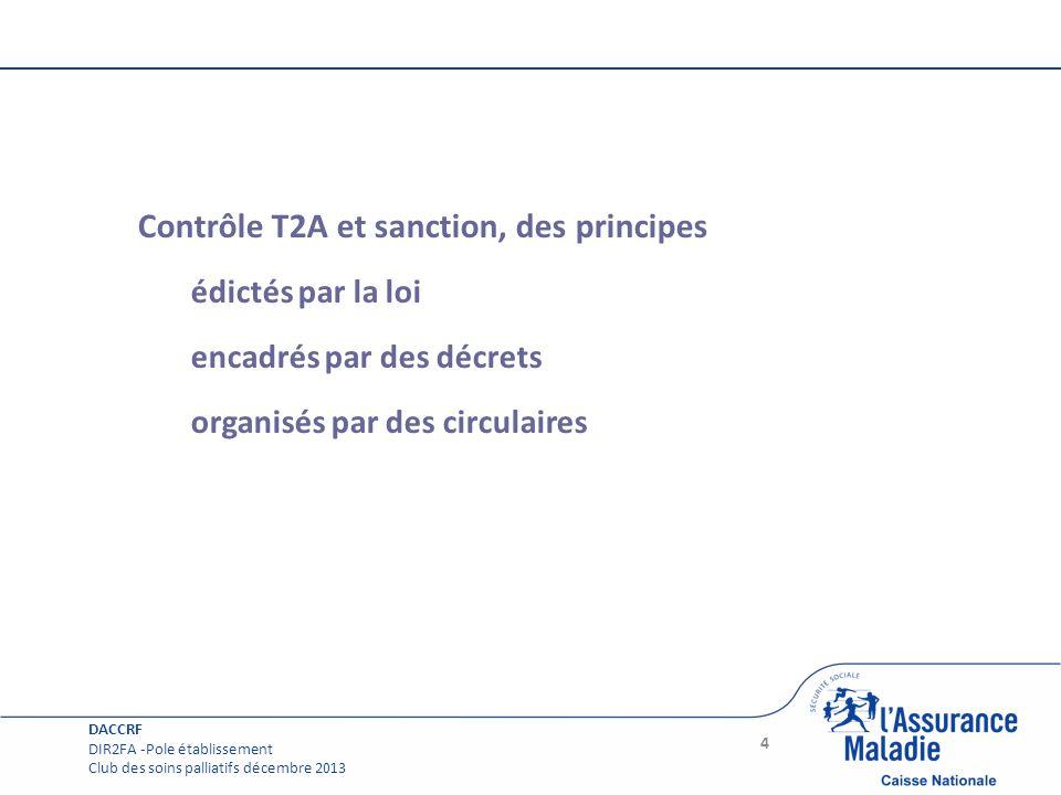 Page courante Contrôle T2A et sanction, des principes édictés par la loi encadrés par des décrets organisés par des circulaires 4 DACCRF DIR2FA -Pole
