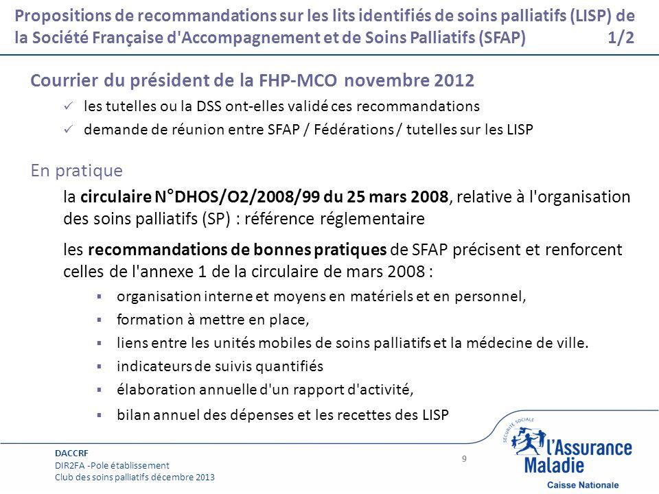 Page courante Propositions de recommandations sur les lits identifiés de soins palliatifs (LISP) de la Société Française d'Accompagnement et de Soins