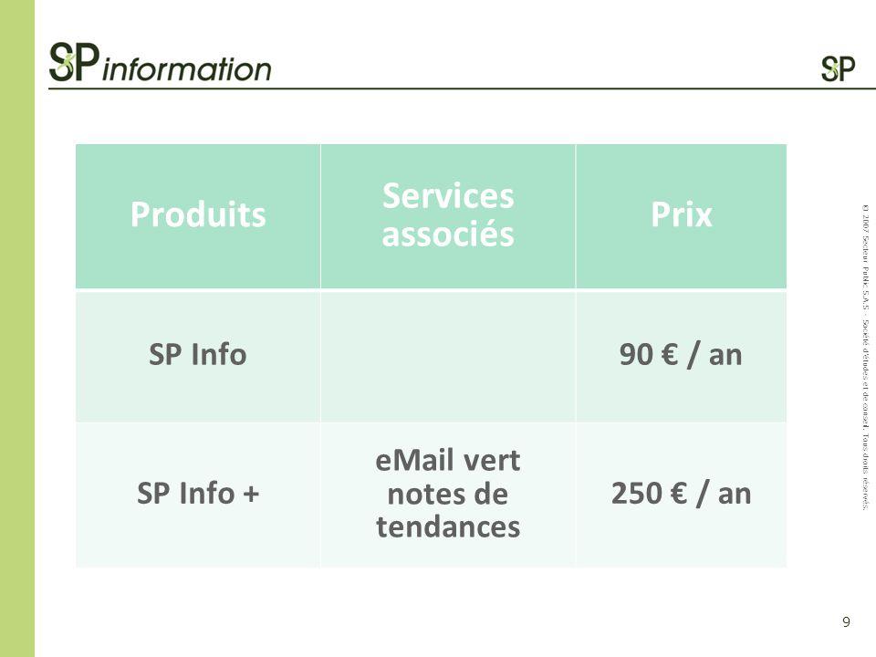 9 © 2007 Secteur Public S.A.S - Société détudes et de conseil. Tous droits réservés. Produits Services associés Prix SP Info90 / an SP Info + eMail ve